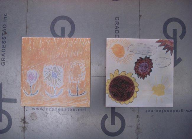 子どもの描いた絵 記念品オーダータイル